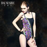 范德安 欧美性感三角连体泳衣女 保守遮肚黑色大码女士游泳衣