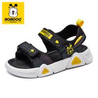 巴布豆儿童凉鞋2021年新款夏季男女大童学生潮透气软底潮流运动鞋-黑黄