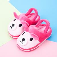 宝宝棉拖鞋1-2-3-4岁婴儿男女孩卡通室内防滑软底儿童家居毛毛鞋 玫红色 小熊