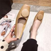 单鞋女2019新款时尚韩版方头圆片百搭单鞋休闲奶奶鞋女鞋