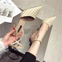 格子高跟鞋女2019新款时尚百搭韩版尖头女鞋细跟一字扣凉鞋女鞋