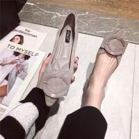 单鞋女2019春季新款时尚尖头大C扣蝴蝶结舒适软底平底百搭单鞋