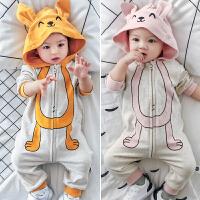 婴儿衣服男婴儿春装满月服婴儿连体衣春秋哈衣女宝宝连帽外出爬服
