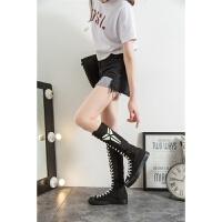 黑色高帮帆布鞋女韩版潮流板鞋超高筒布靴街舞鞋跳舞鞋夜光鞋女鞋