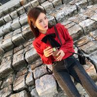 卡贝琳女2019新款秋装蝴蝶结心机上衣设计感法式少女复古红色衬衫女冬长袖衬衣打底衫