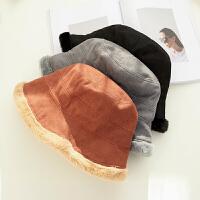 帽子女秋冬季保暖加厚韩版百搭麂皮绒渔夫帽日系复古护耳盆帽