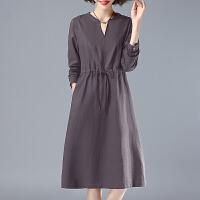 安妮纯中长款长袖连衣裙女2020春装新款棉麻V领A字裙系绳显瘦裙子