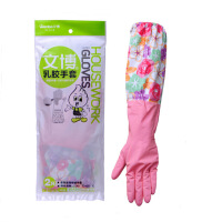 宽口加绒家居手套L 防水防滑手套/家务手套 洗衣服 家用清洁手套 洗碗手套 1双 紧口