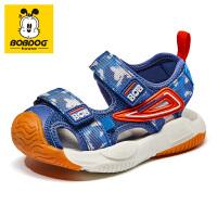 巴布豆bobdoghouse童鞋包头宝宝凉鞋2021新款夏季女童鞋沙滩鞋子-深蓝红