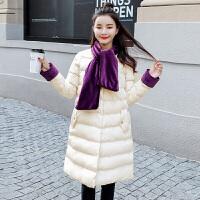新年特惠女士棉袄女装冬装新款2019冬装新款女装矮个子修身学生韩版时髦斗篷羽外套潮 米白色
