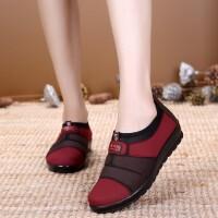 新款老北京布鞋女鞋软底平跟奶奶鞋平底中老年女单鞋妈妈鞋子 单鞋红色 35