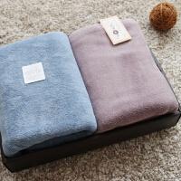 2条装情侣裹胸浴巾儿童宝宝吸水速干柔软礼盒kpp 牛仔蓝+绛紫色 2条装浴巾 140x70cm
