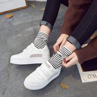 白色休闲鞋女春季新款厚底小白鞋松糕鞋韩版魔术贴学生板鞋潮 白色 35