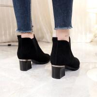 短靴女秋冬季2018新款高跟鞋韩版秋天黑色尖头裸靴女粗跟马丁靴潮 黑色