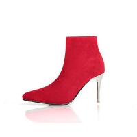 秋冬新款欧美风尖头绒面高跟鞋细跟加绒短靴子