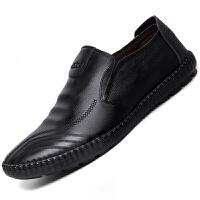 冬季懒人黑色男式商务一脚蹬休闲皮鞋软底单鞋休闲鞋加绒保暖棉鞋