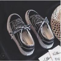 新款帆布鞋女学生韩版百搭港风复古ins板鞋街拍chic休闲