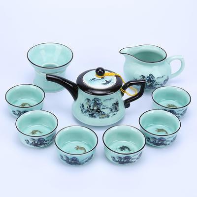 汉馨堂 茶具套装 青瓷手绘茶具天青陶瓷功夫茶具盖碗礼盒套装 传统陶瓷工艺