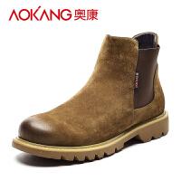 奥康(AOKANG)男鞋新款男士马丁靴英伦风高帮工装靴子男短靴