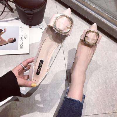 2019春季新款时尚韩版金属装饰时尚尖头低跟鞋浅口单鞋女鞋潮