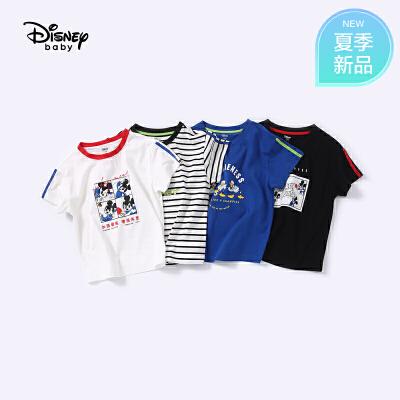 【139元5件专区】迪士尼宝宝奥运庆典男童针织短袖T恤夏季新品
