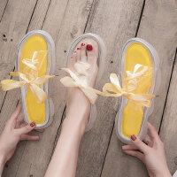 学生百搭透明果冻鞋女 时尚平底凉拖软底凉鞋女 新款系带拖鞋女士沙滩鞋