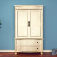 小户型美式乡村实木衣柜 2门衣柜 卧室衣橱 欧式衣柜田园两衣柜 2门