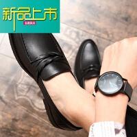 新品上市皮鞋男韩版休闲一脚蹬青少年懒人鞋型师潮鞋百搭男士英伦小皮鞋