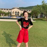 卡贝琳女2019新款夏季小个子短袖t恤两件套洋气减龄裤装显瘦高腰红色短裤阔腿裤套装女
