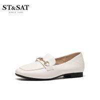 【券后价:259元】ST&SAT星期六乐福鞋2021春新方头中口低跟一脚蹬女鞋SS11111077
