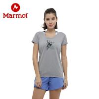 Marmot/土拨鼠女款户外印花速干圆领短袖T恤