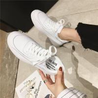 真皮小白鞋女2019春季新款韩版厚底学生运动鞋系带运动板鞋女鞋潮