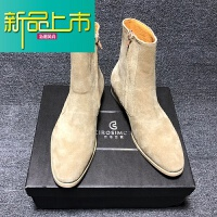 新品上市靴男短靴马丁靴C 英伦米真皮拉链个性尖头潮 杏色
