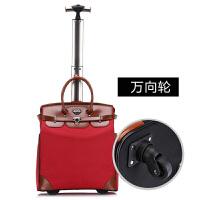 18寸20寸拉杆箱男女时尚手提式行李包休闲牛津布电脑旅行箱万向轮登机箱可商务 红色单杆 万向轮