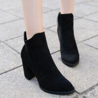 马丁靴女百搭韩版尖头绒面短靴及裸靴高跟鞋子女秋冬2018新款粗跟