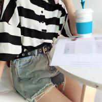 皮带女宽学生牛仔裤带装饰简约百搭时尚个性韩版镂空针扣腰带黑潮