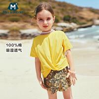 【限时1件6折 2件5.5折】迷你巴拉巴拉儿童短袖T恤女宝宝上衣纯棉体恤衫薄款2019夏装新款