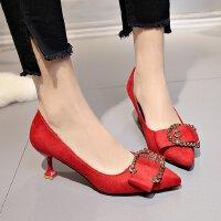 3-5cm高跟鞋女大码红色婚鞋蝴蝶结甜美单鞋学生优雅工作性感猫跟