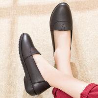 妈妈鞋单鞋舒适软底平底中老年女鞋中年皮鞋滑老人奶奶鞋 黑色