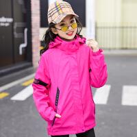 女童冲锋衣三合一可拆卸儿童加绒春装外套2019新款两件套潮