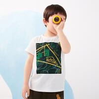 【秒杀价:95元】马拉丁童装男大童T恤夏装2020新款图案印花白色圆领休闲短袖上衣