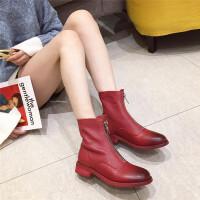时尚短靴女2018秋冬新款百搭粗跟低跟前拉链真皮全羊皮舒适短靴潮