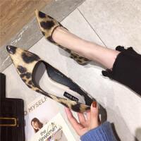 高跟鞋女2019春秋新款百搭时尚拼色豹纹网红气质浅口细跟高跟单鞋