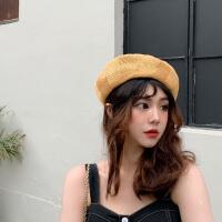 贝雷帽女夏季薄款韩版帽子女百搭日系画家帽子遮阳防晒镂空透气潮