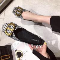 时尚复古舒适浅口尖头平底格子百搭女士单鞋新款休闲鞋