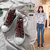小脏鞋韩版潮休闲百搭涂鸦复古平底学生高帮帆布鞋女