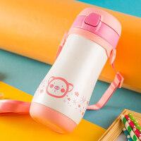 儿童保温杯带吸管两用宝宝水杯304食品级不锈钢杯子带背带 抖音
