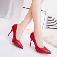 尖头高跟鞋女细跟性感单根10cm尖头浅口宴会韩版夜店夏季情趣皮鞋