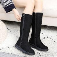 布鞋冬季加厚保暖女鞋靴子中筒保暖舒适中青年学生套筒靴 黑色