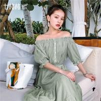 七格格一字领娃娃衫女韩版2019新款夏装洋气短款时尚雪纺小衫上衣